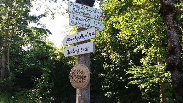 Wegweiser Parkplatz Lainlalm Jachenau